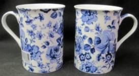 Four Blue Chatsworth Mugs