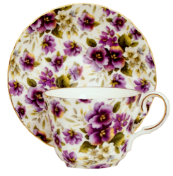 Two Pansy Chintz Cup Sets