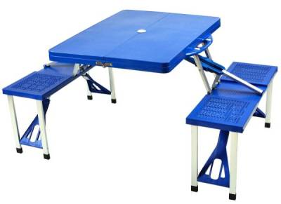 Royal Blue Folding Picnic Table with Seats