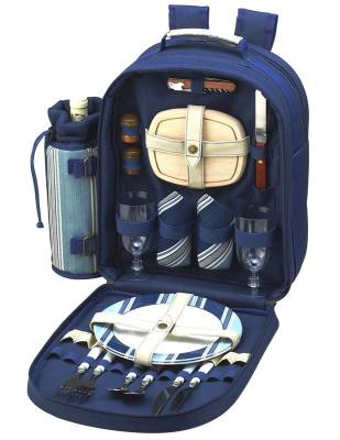 Aegean Blue Picnic Backpack for Two