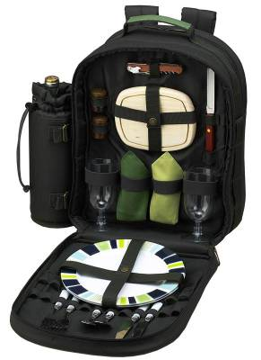 Forest Green Picnic Backpack for Two