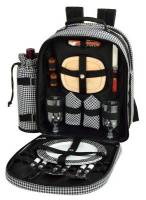 Houndstooth Picnic Backpack for Two