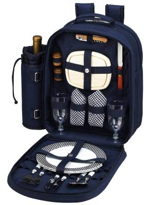 Navy Blue Picnic Backpack for Two