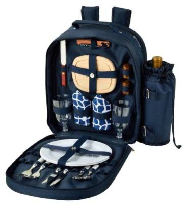 Trellis Blue Picnic Backpack for Two