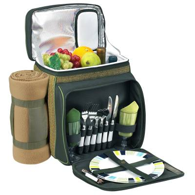 Forest Green Picnic Cooler with Blanket for Two