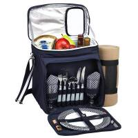 Navy Picnic Cooler with Blanket for Two
