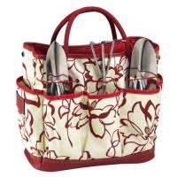 Red Floral Garden Tote and Tool Set