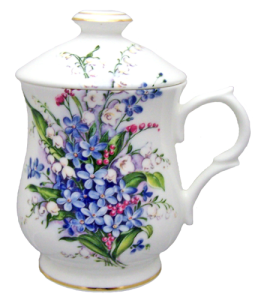 Two Forget Me Not Lidded Mugs