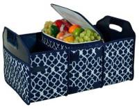 Trellis Blue Trunk Organizer and Cooler Set