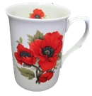 Three Autumn Poppy Mugs