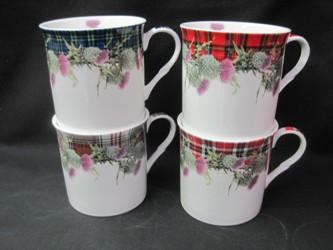 Four Countess Thistle Tartan Mugs