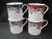 Four Countess Thistle Tartan Mugs