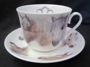 Horse Heads Breakfast Cup and Saucer