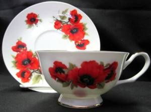 Autumn Poppy Cup and Saucer