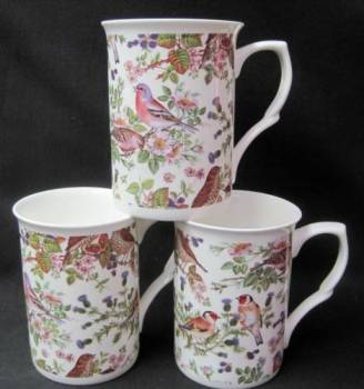 Three Bird Chintz Mugs