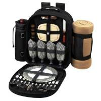 Black Picnic Backpack with Blanket for Four