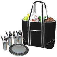 Black Insulated Cooler Tote for Four