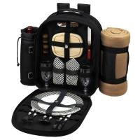 Black Picnic Backpack with Blanket for Two