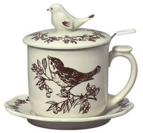 Brown Bird Infuser Mug