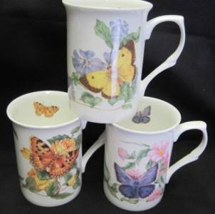 Three Butterfly Wrap Mugs