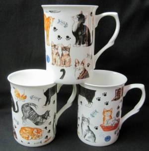 Three Cat Chintz Mugs