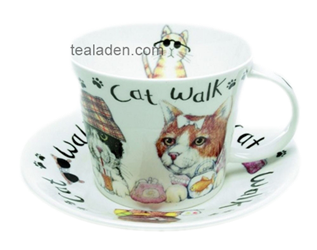 A.F. Cat Walk Breakfast Cup and Saucer