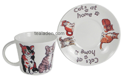 Cats at Home Breakfast Cup and Saucer