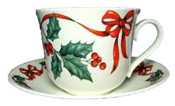 Christmas Ribbon Breakfast Cup and Saucer