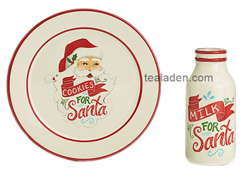 Classic Santa Cookie Plate and Milk Bottle