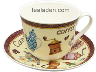 Coffee Motif Breakfast Cup and Saucer