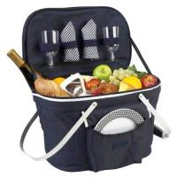 Navy Collapsible Picnic Basket for Two