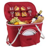Red Collapsible Picnic Basket for Two