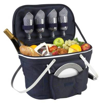 Navy Collapsible Picnic Basket for Four