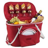 Red Collapsible Picnic Basket for Four
