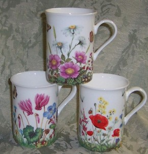 Three Countryside Flowers Mugs
