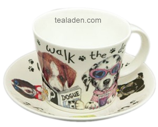Dog Walk Breakfast Cup and Saucer