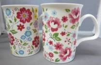 Four English Bouquet Mugs