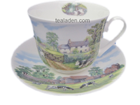 English Country Scenes Breakfast Cup and Saucer