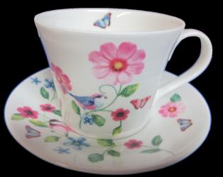 Floral Birds Breakfast Cup