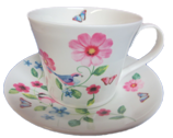 Floral Birds Breakfast Cup