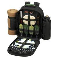 Forest Green Picnic Backpack with Blanket for Four