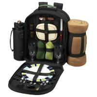 Forest Green Picnic Backpack with Blanket for Two