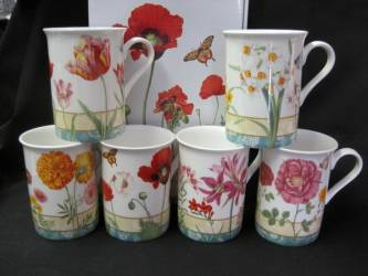 Six Garden Flowers Mugs