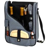 Houndstooth Wine and Cheese Cooler Tote