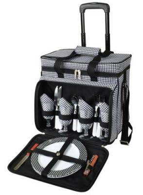 Houndstooth Picnic Cooler on Wheels