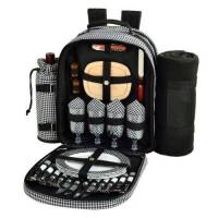 Houndstooth Picnic Backpack with Blanket for Four