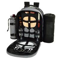 Houndstooth Picnic Backpack with Blanket for Two