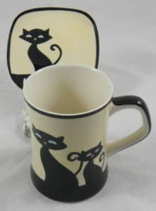 Ivory Cat Mug and Coaster