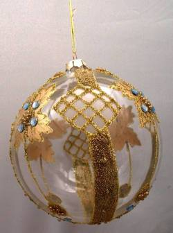 Round Gold and Light Blue Ornament