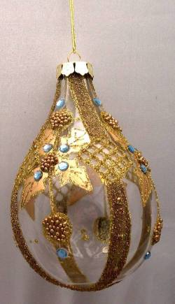 Gold and Blue Teardrop Ornament